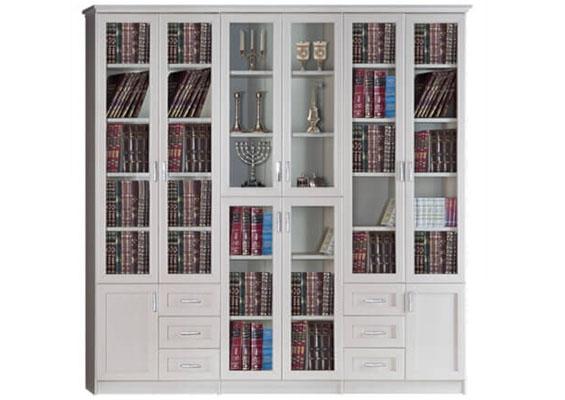 ספריית קודש מעוצבת, דלתות מסגרת בשילוב זכוכית דגם K650