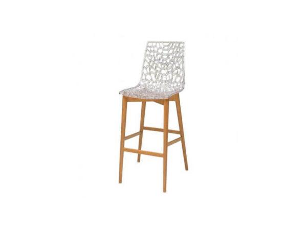 כיסא בר מעץ דגם דייזי רגל קונוס