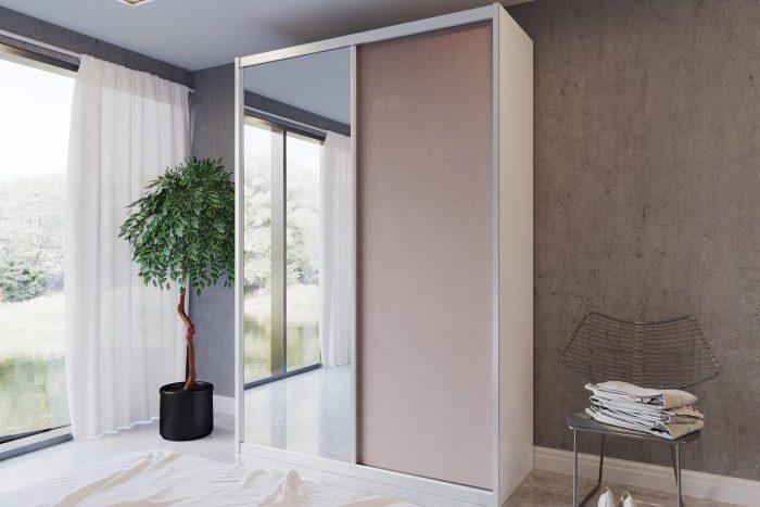 ארון הזזה 2 דלתות דגם HRM2100VN דלתות ומראה כולל חיפוי אלומיניום