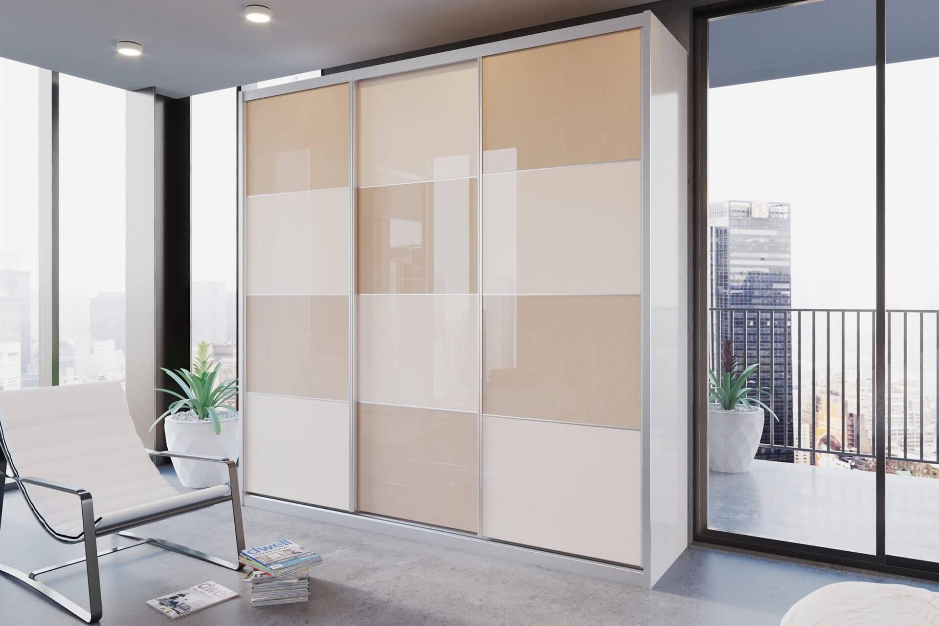 ארון הזזה דלתות High Gloss כולל חיפוי אלומיניום דגם HG2159VN