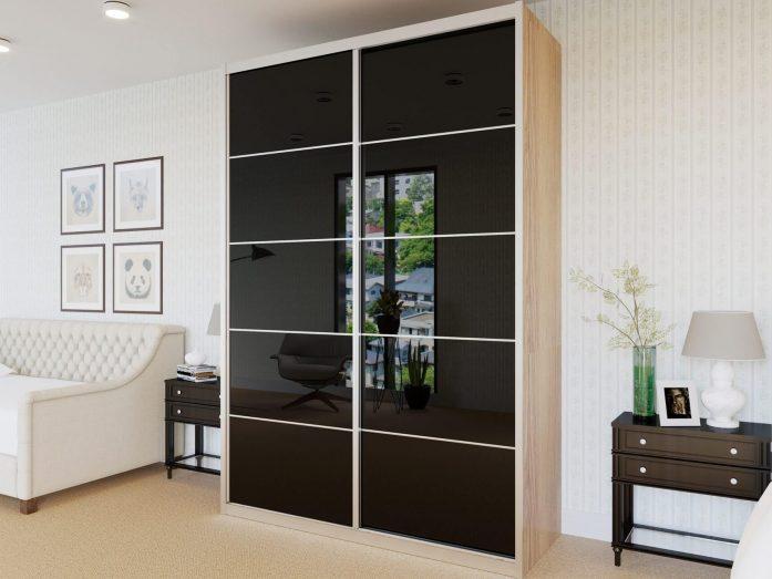 ארון הזזה 2 דלתות דגם HG3140VN דלתות High Gloss כולל חיפוי אלומיניום
