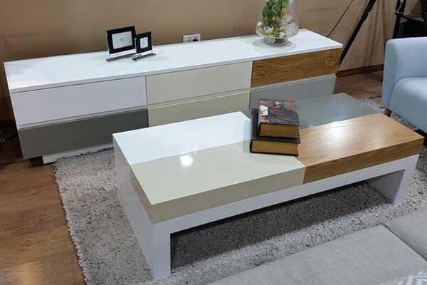 מזנון ושולחן לסלון דגם קוביות