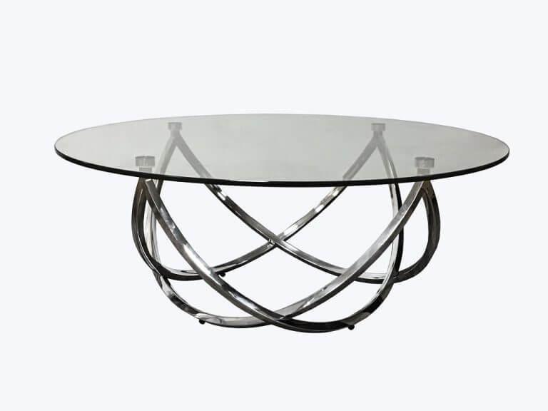 שולחן סלון עגול מעוצב זכוכית בשילוב ניקל דגם 393RB
