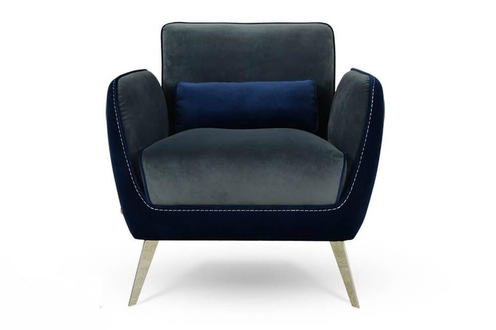 כורסא מעוצבת ריפוד בד קטיפה איכותי אפור בשילוב כחול rb