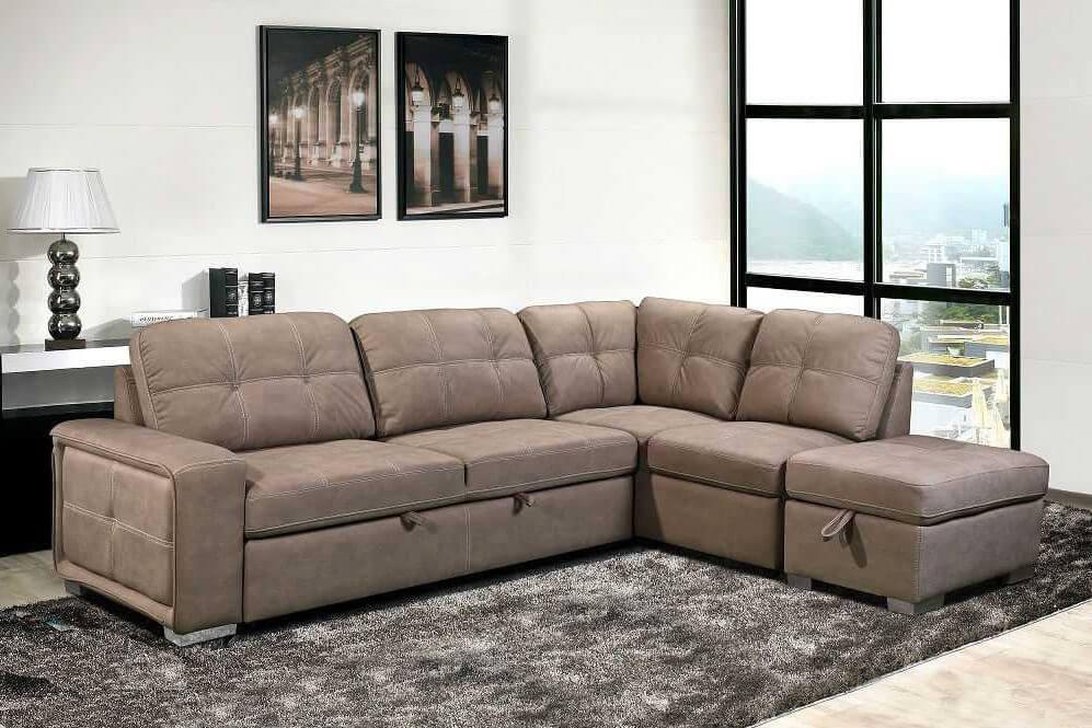 מערכת ישיבה פינתית בשילוב מיטה נפתחת בתוספת הדום עם ארגז אחסון דגם דיאנה RB