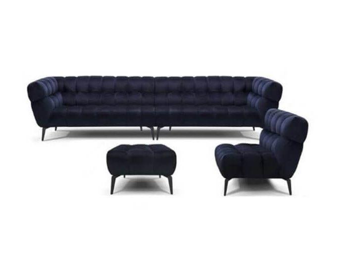 מערכת ישיבה פינתית מודולרית המורכבת משלושה חלקים ספה,כורסא והדום בריפוד בד