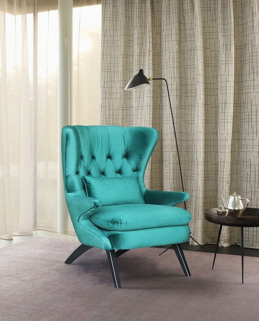כורסא מעוצבת ריפוד בד קטיפה איכותי במגוון צבעים דגם RB796