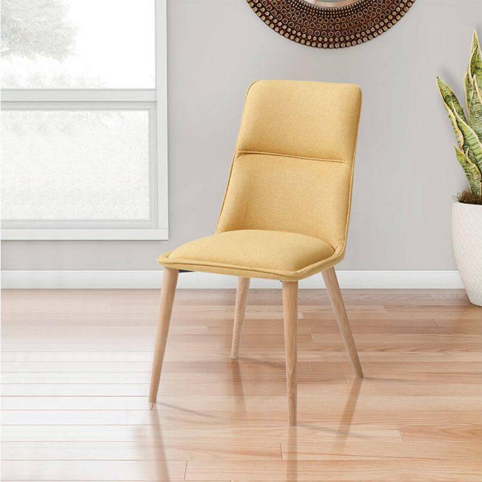 כסא מעוצב עם רגלי עץ מלא בגוון אלון טבעי vn
