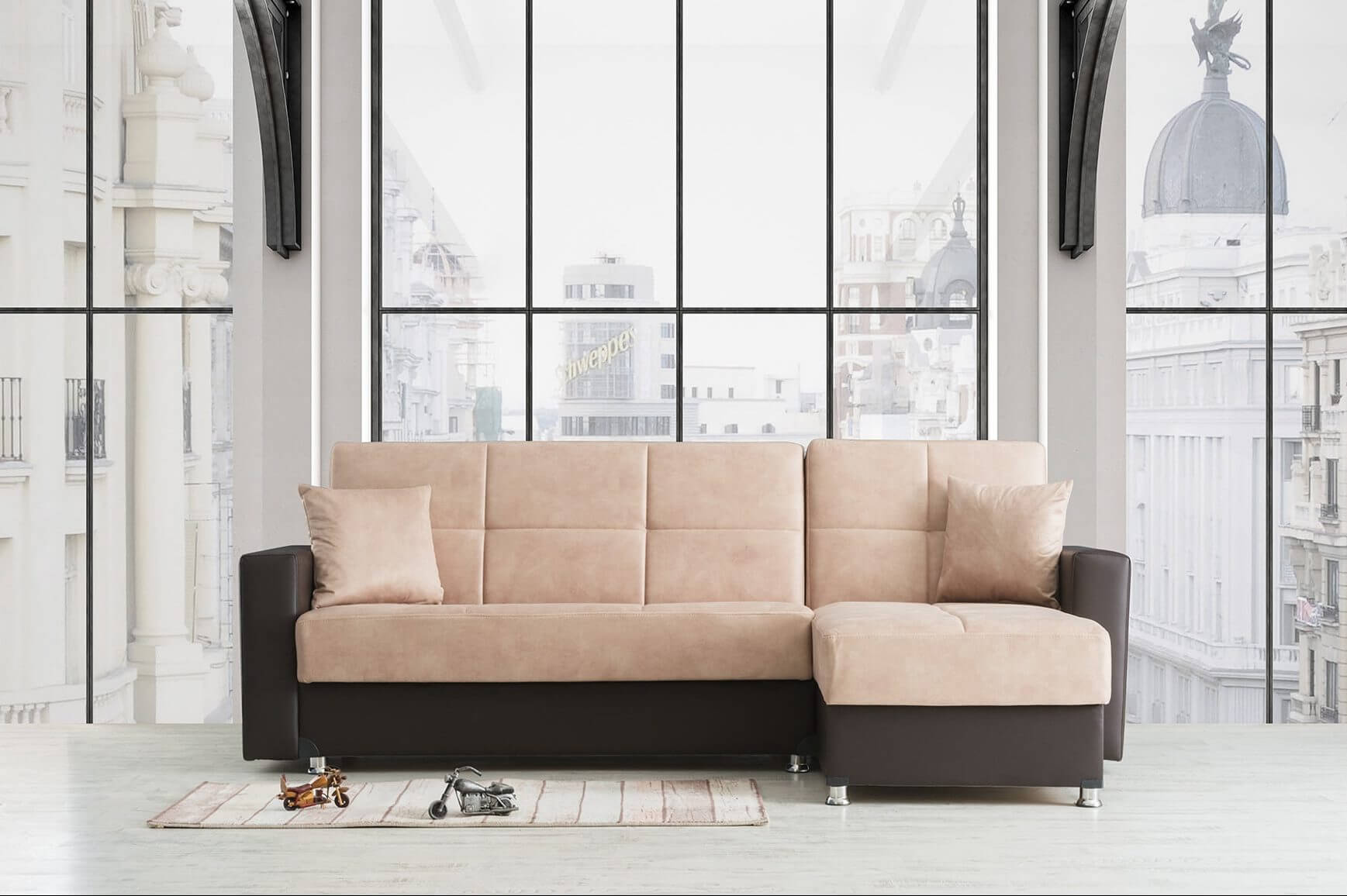 מערכת ישיבה פינתית נפתחת למיטה דגם לורה vn