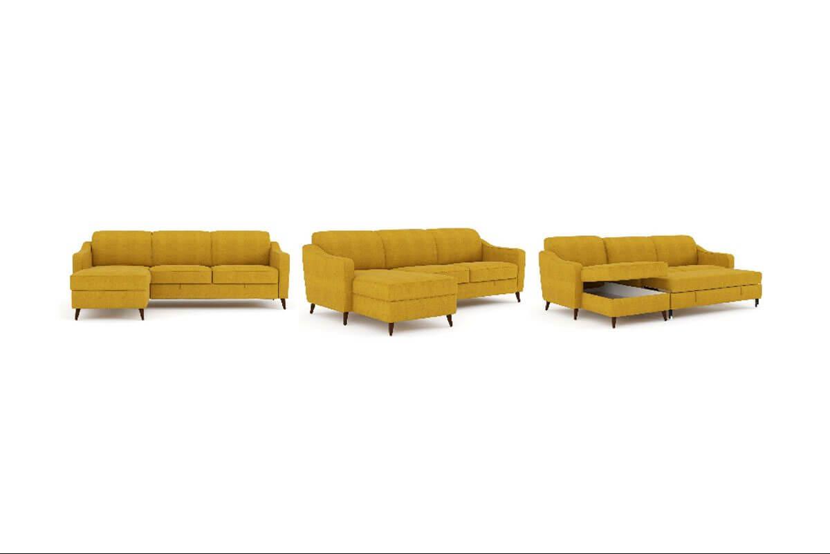 מערכת ישיבה פינתית סלון הכולל שזלונג,מיטת אירוח זוגית וארגז מצעים דגם זאדר- vs