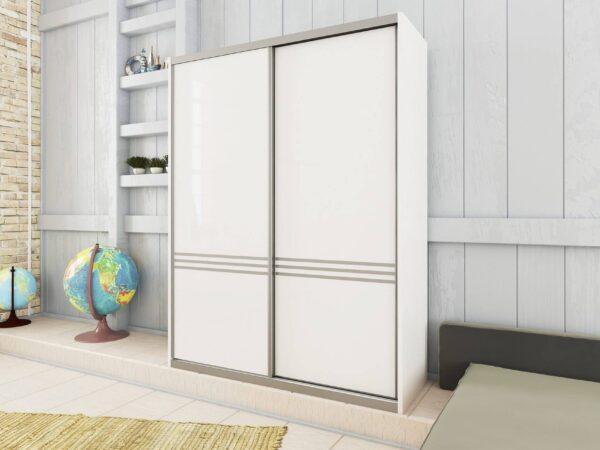 ארון הזזה דגם HG5000VN דלתות High Gloss כולל חיפוי אלומיניום