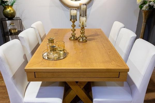 """שולחן פינת אוכל דגם """"מטרו"""" + 6 כסאות"""